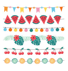 Set of colorful summer garlands birthday party vector