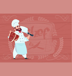 Chef cook holding cleaver knife and meat smiling vector