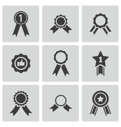 black award medal icons set vector image