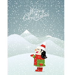 Christmas background little girl enjoying snow vector