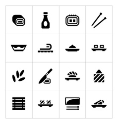Set icons of sushi vector