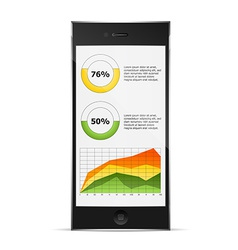 Diagrams on phone display vector