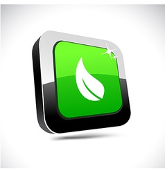 Ecology 3d square button vector