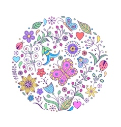 Floral hand drawn colorful pattern vector