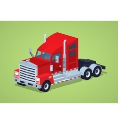 Low poly red heavy american truck vector