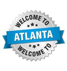 Atlanta 3d silver badge with blue ribbon vector