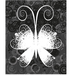Black and white butterfly vector image