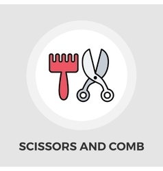 Scissors and comb flat icon vector