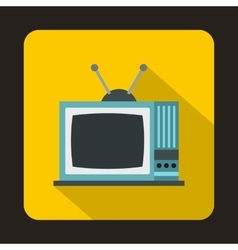 Retro tv icon in flat style vector