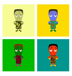 Assembly flat zombie men vector