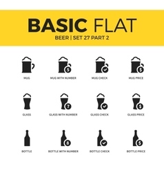 Basic set of beer icons vector