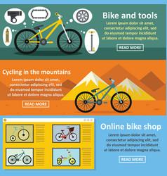 Bicycle tools banner horizontal set flat style vector
