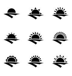 Black sunrise icon set vector