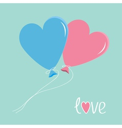 Blue and pink balloons in shape of heart love card vector