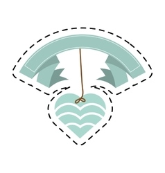 blue heart hanging banner romantic cut line vector image vector image