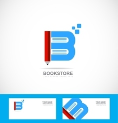 Book bookstore library pencil logo vector