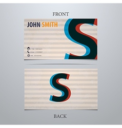 Business card template letter S vector image