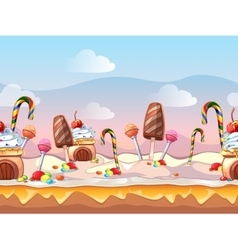 Cartoon fairy tale candy seamless vector image