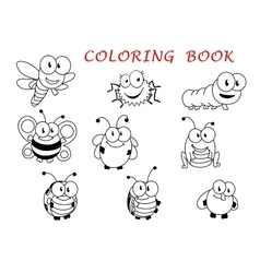 Cartoon funny outline insect characters vector