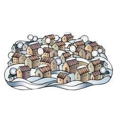 Cartoon winter fairytale town vector