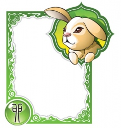 Chinese horoscope frame series rabbit vector