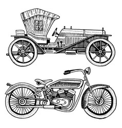 Classic car machine or engine and motorcycle or vector