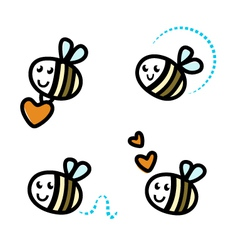 cute bee characters vector image vector image