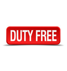 Duty free red 3d square button vector