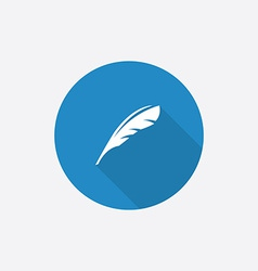 Feather flat blue simple icon with long shadow vector