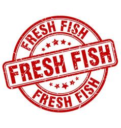 Fresh fish red grunge round vintage rubber stamp vector