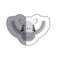 Grayscale sticker with zebra head and olive vector