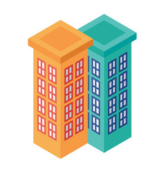 isometric set of adjacent tall buildings - vector image vector image