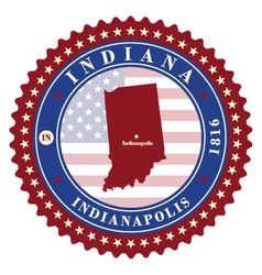 Label sticker cards of state indiana usa vector