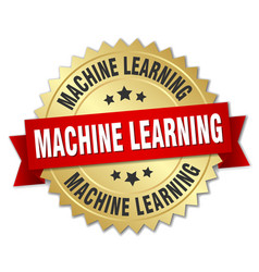 machine learning round isolated gold badge vector image vector image