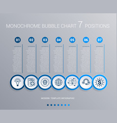 Monochrome blue bubbles chart infographics for 7 vector