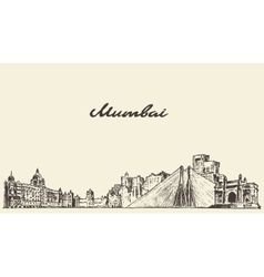 Mumbai skyline drawn sketch vector image