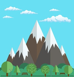 Natural landscapes of mountains and park with vector image