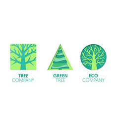 Paper cut out logo template set with green trees vector