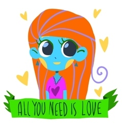Romantic cute All I need is love postcard vector image