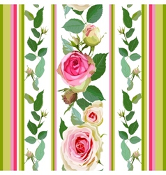 Seamless pattern with roses and stripes vector