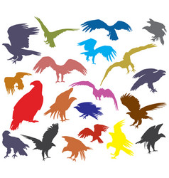 Set of colorful american eagle silhouettes vector