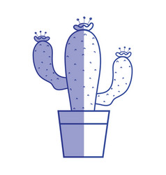 Silhouette cactus plant with flower inside of vector