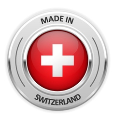 Silver medal Made in Switzerland with flag vector image