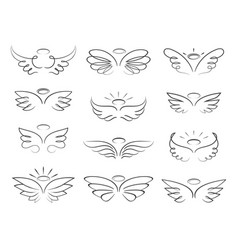 Sketch angel wings in cartoon style vector