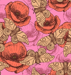 Sketch moth and poppy in vintage style vector image vector image