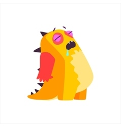 Sleeping orange childish monster vector