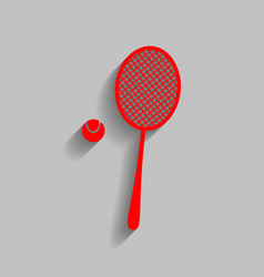 Tennis racquet sign red icon with soft vector