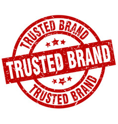 trusted brand round red grunge stamp vector image vector image