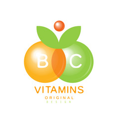 Vitamins b and c logo template original design vector