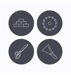 Wall spatula and scissors icons vector